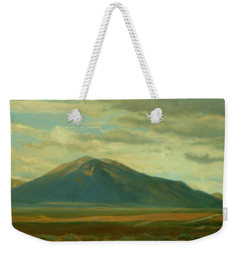 Southwest Weekender Tote Bag featuring the painting Outside Of Taos by Phyllis Tarlow