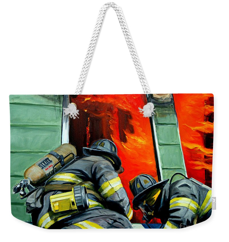Firefighting Weekender Tote Bag featuring the painting Outside Roof by Paul Walsh