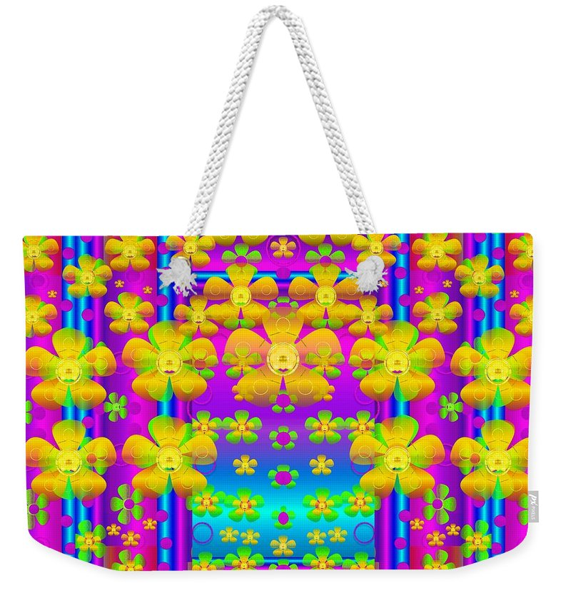 Landscape Weekender Tote Bag featuring the mixed media Outside The Curtain It Is Peace Florals And Love by Pepita Selles
