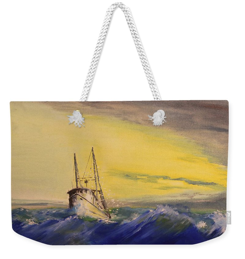 Boat Weekender Tote Bag featuring the painting Outside The Jetty by Christopher Jenkins