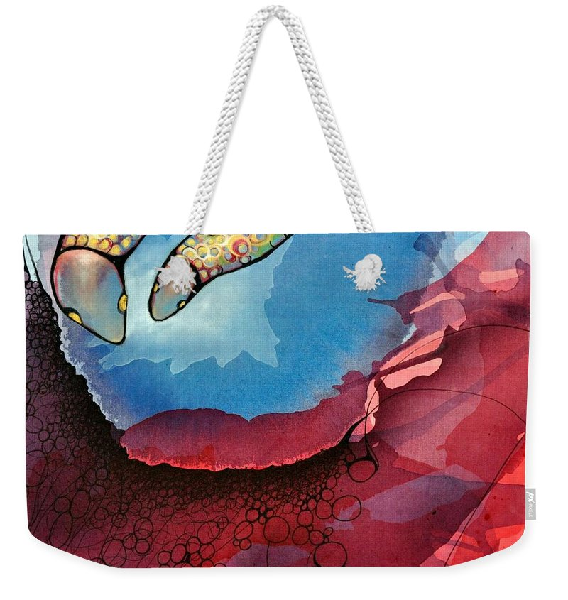 Acrylic Painting Weekender Tote Bag featuring the painting Outwards Inwards by Darcy Lee Saxton