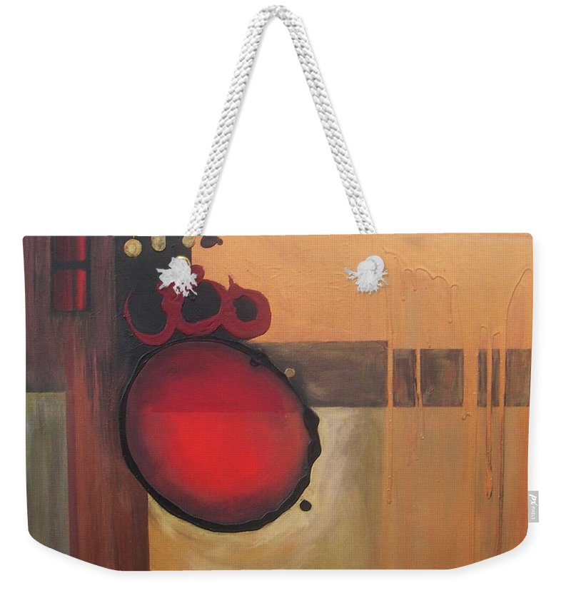 Abstract Weekender Tote Bag featuring the painting Over Easy by Marlene Burns