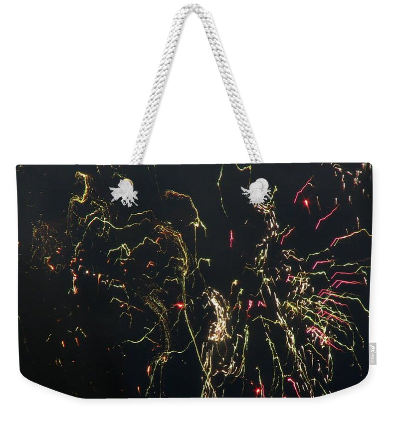 Patzer Weekender Tote Bag featuring the photograph Over Fort Lee by Greg Patzer