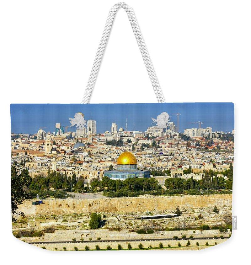 Jerusalem Weekender Tote Bag featuring the photograph Over Jerusalem by Barbara Stellwagen
