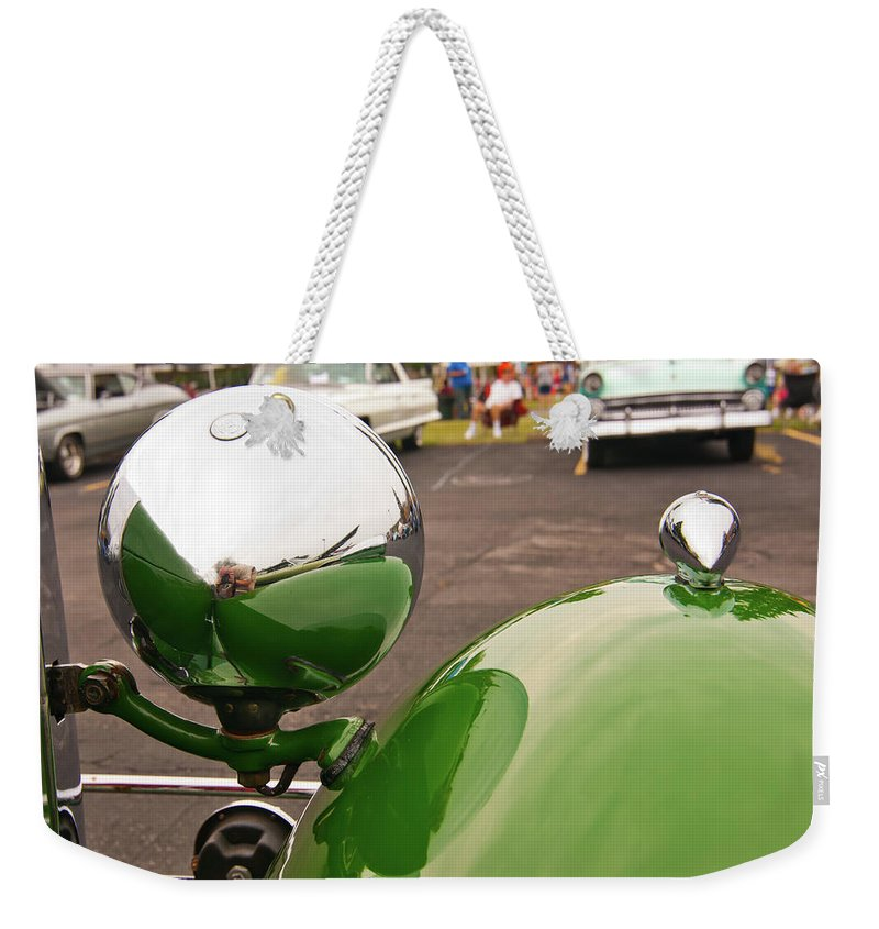 Antique Car Weekender Tote Bag featuring the photograph Over My Shoulder 2042 by Guy Whiteley