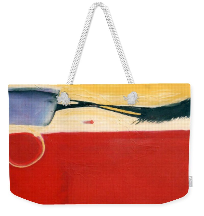 Red Weekender Tote Bag featuring the painting Over Optics by Marlene Burns