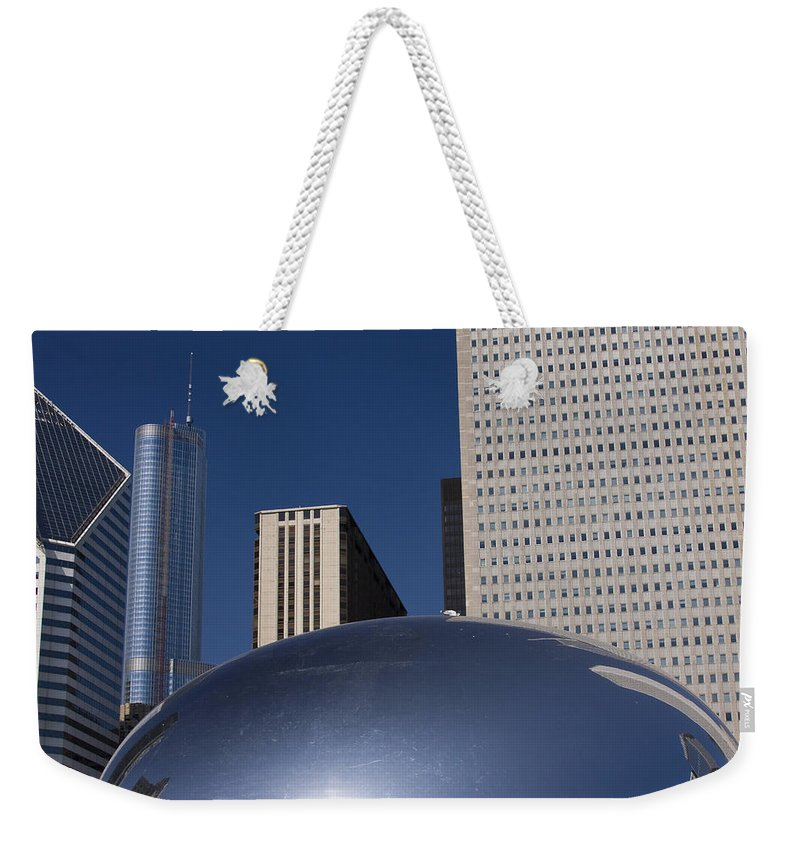 Chicago Windy City Wind Blue Sky Art Bean Building Skyscraper Tall High Big Large Reflection Weekender Tote Bag featuring the photograph Over The Bean by Andrei Shliakhau