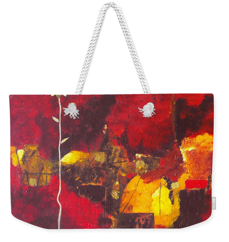 Abstract Weekender Tote Bag featuring the painting Over The Broken Fence by Ruth Palmer
