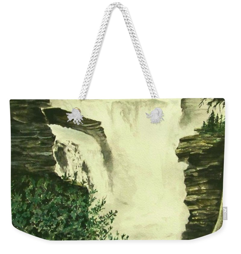 Landscape Watercolor Waterfall Scenic Scenery Landscape Rocks Trees Moss Weekender Tote Bag featuring the painting Over The Edge by Brenda Owen