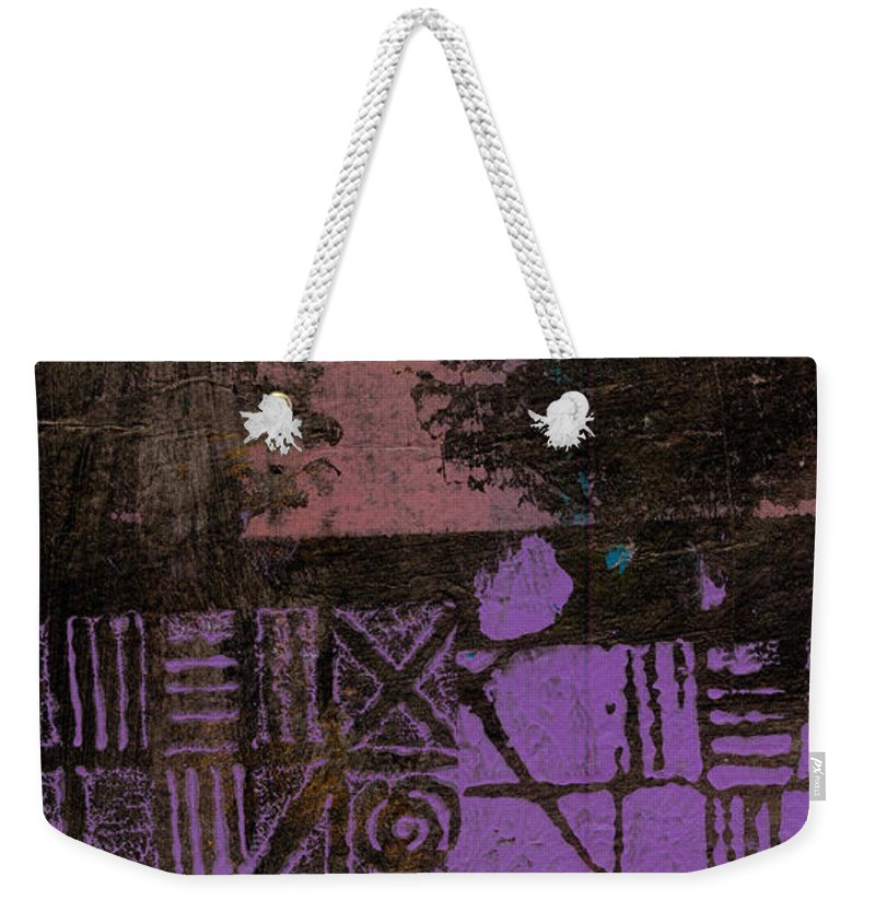 Woman Weekender Tote Bag featuring the mixed media Over The Purple Wall by Angela L Walker