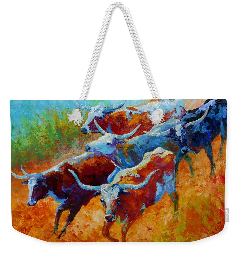 Western Weekender Tote Bag featuring the painting Over The Ridge - Longhorns by Marion Rose