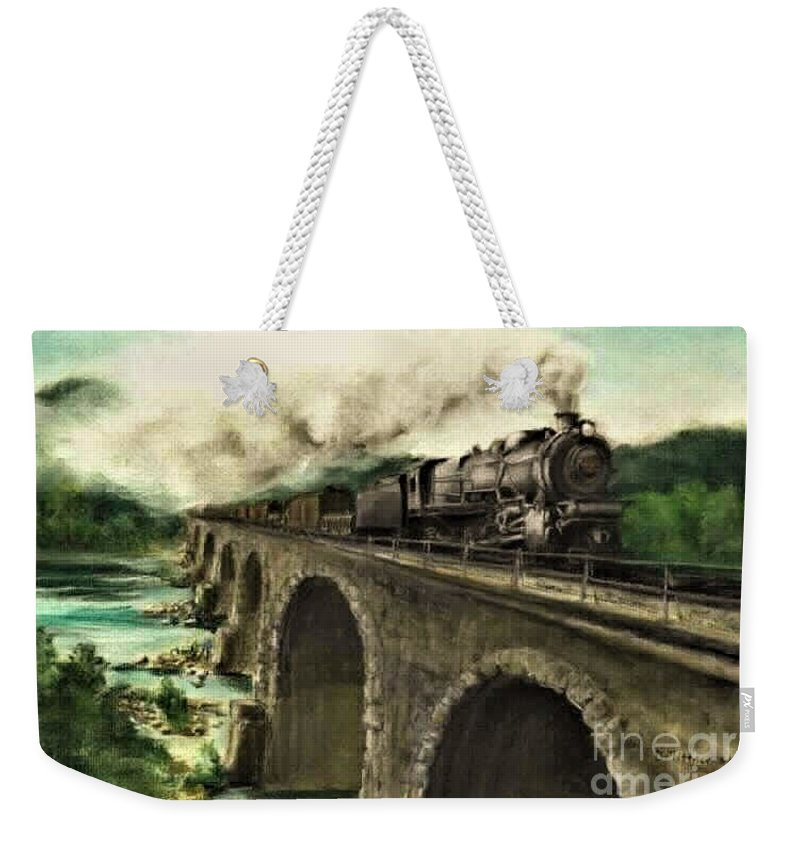 Steam Engine Weekender Tote Bag featuring the painting Over the River by David Mittner