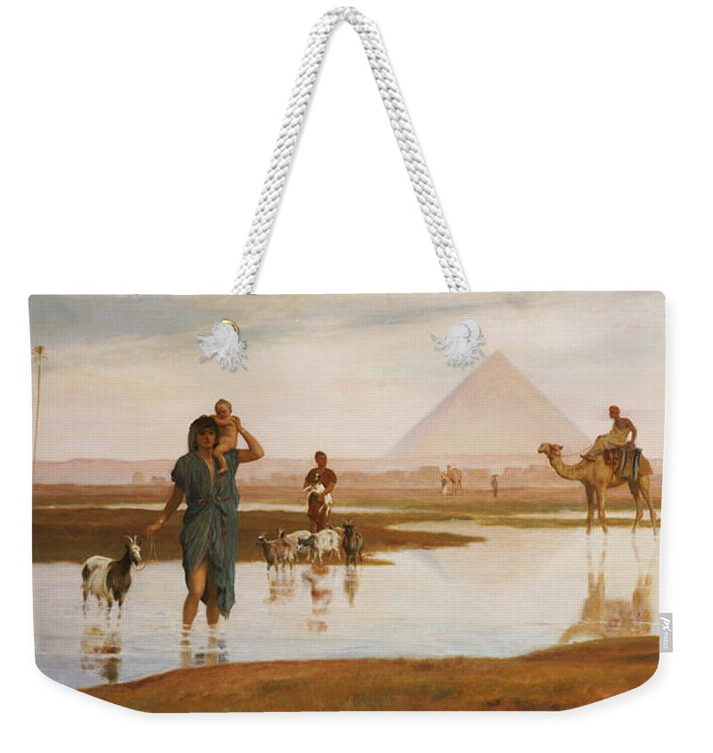 Egyptian; Landscape; Pyramid; Male; Female; Herding; Herd; Goats; Child; Carrying; River; Desert; Orientalist Weekender Tote Bag featuring the painting Overflow Of The Nile by Frederick Goodall