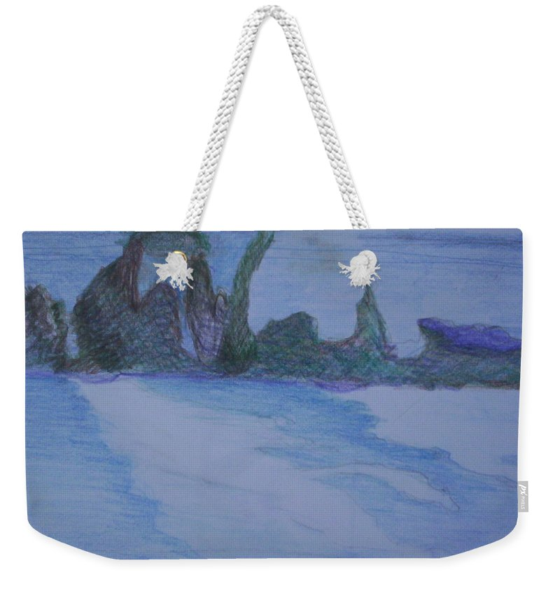 Abstract Painting Weekender Tote Bag featuring the painting Overlap by Suzanne Udell Levinger