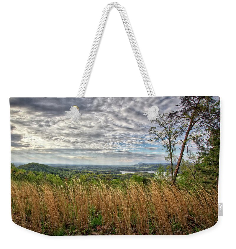 Talking Rock Creek Weekender Tote Bag featuring the digital art Overlook At Talking Rock Creek by Define Studio