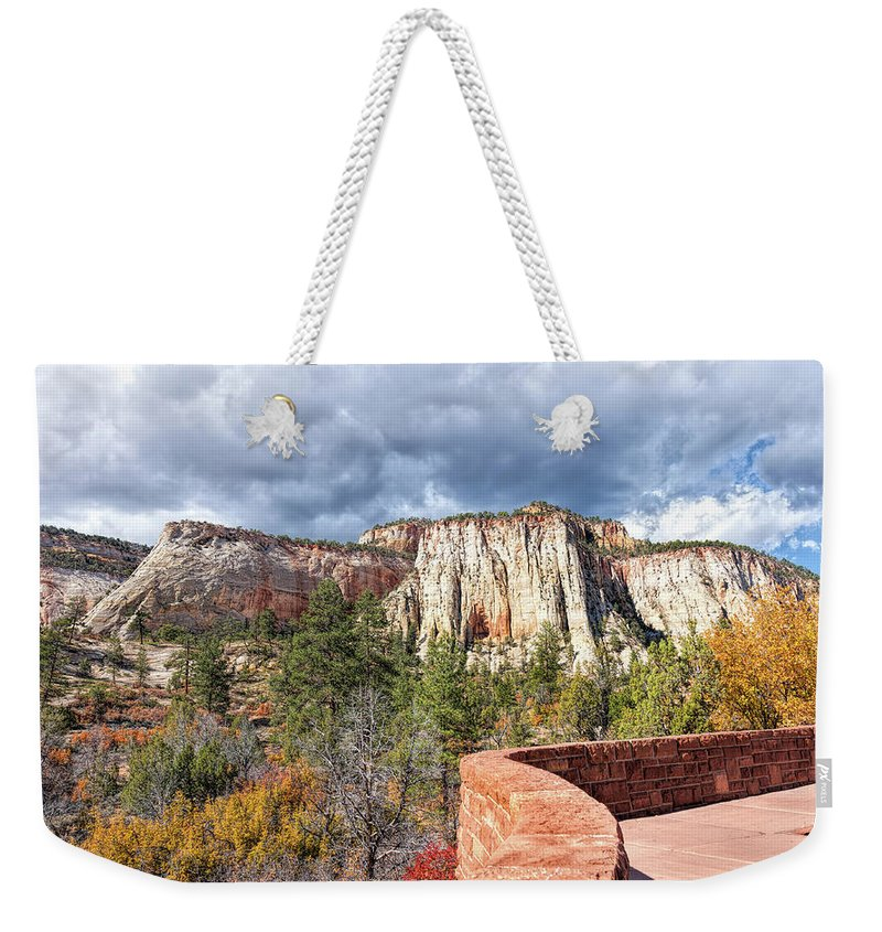 John Bailey Weekender Tote Bag featuring the photograph Overlook In Zion National Park Upper Plateau by John M Bailey