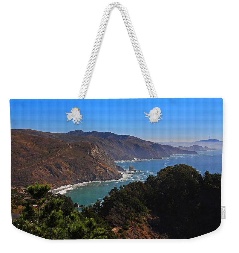 Pacific Weekender Tote Bag featuring the photograph Overlooking Marin Headlands by Michiale Schneider
