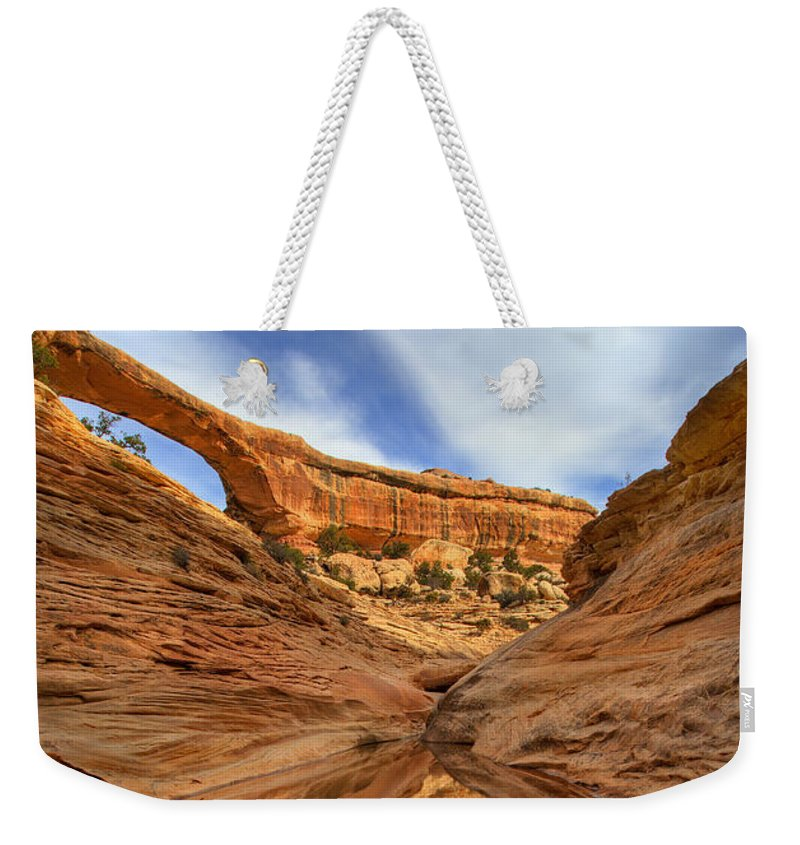 Bridge Weekender Tote Bag featuring the photograph Owachomo Reflected by Mike Dawson