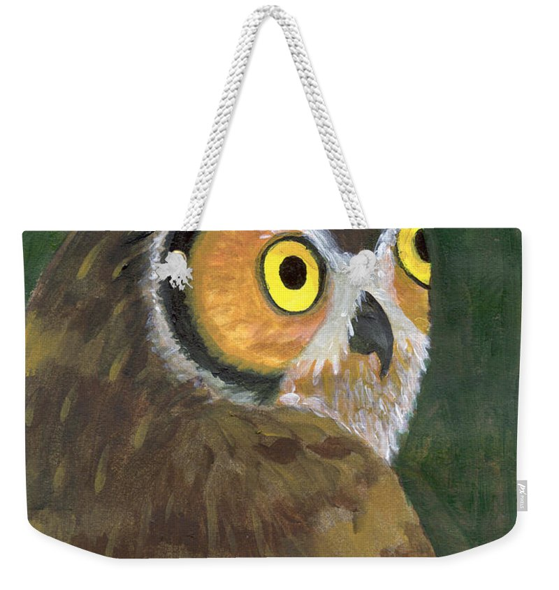 Owl Weekender Tote Bag featuring the painting Owl 2009 by Lilibeth Andre