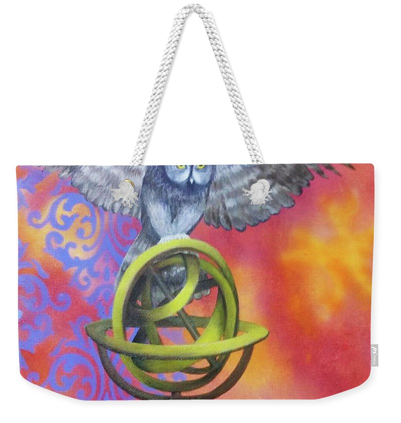 Weekender Tote Bag featuring the painting Owl And Star Map by Siobhan Cardus