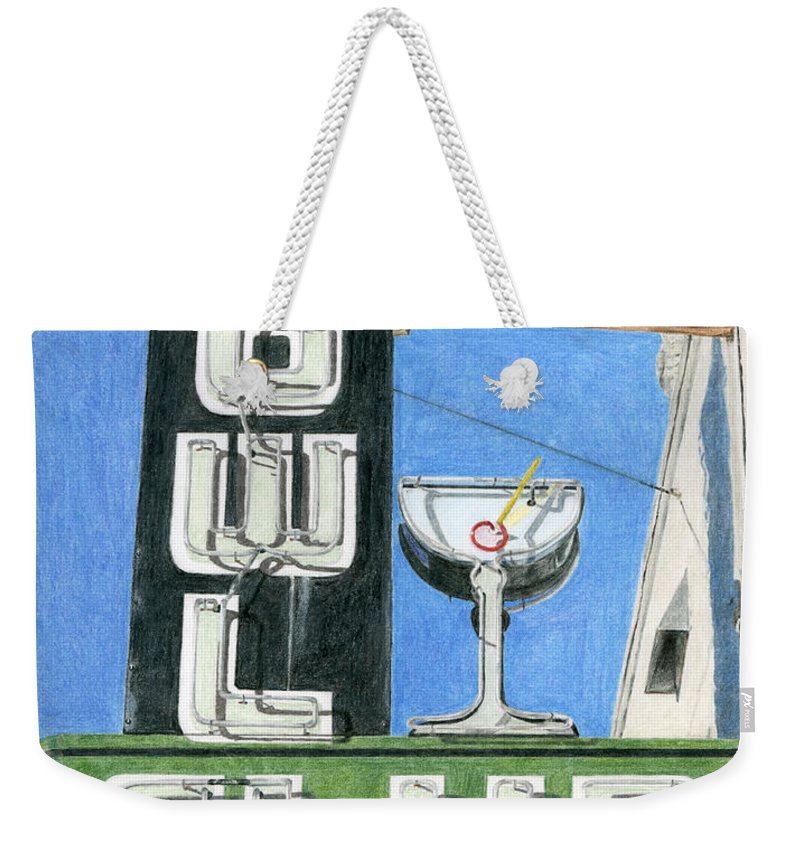 Neon Sign Weekender Tote Bag featuring the drawing Owl Club by Rob De Vries