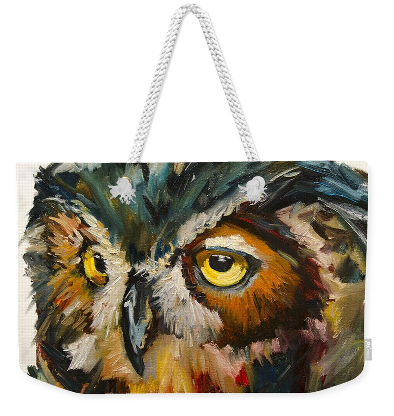 Diane Whitehead Fine Art Weekender Tote Bag featuring the painting Owl Eye by Diane Whitehead