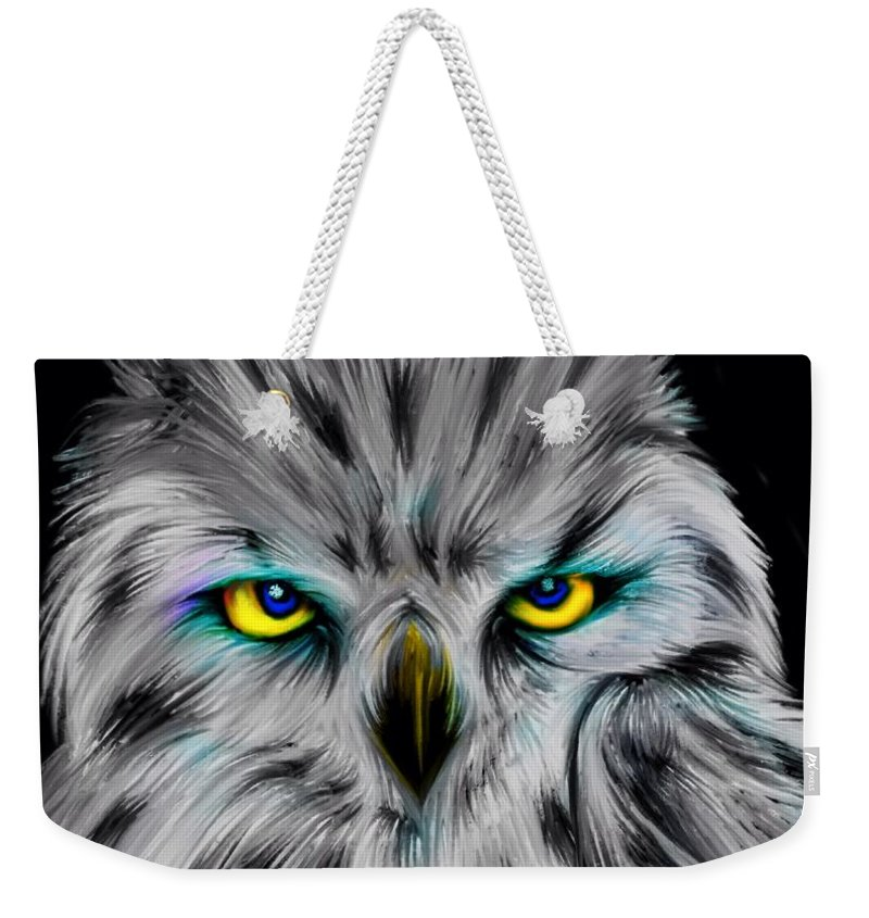 Owls Weekender Tote Bag featuring the digital art Owl Eyes by Nick Gustafson