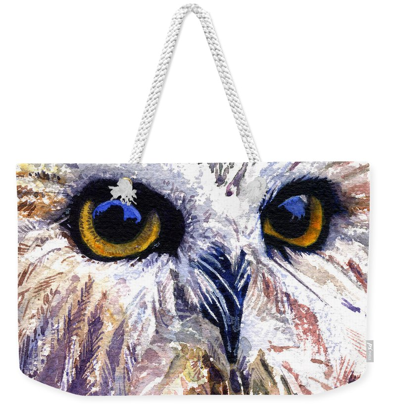 Eye Weekender Tote Bag featuring the painting Owl by John D Benson