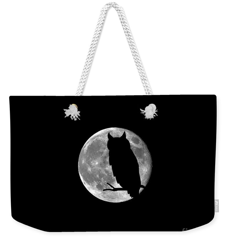 Moon Weekender Tote Bag featuring the photograph Owl Moon .png by Al Powell Photography USA