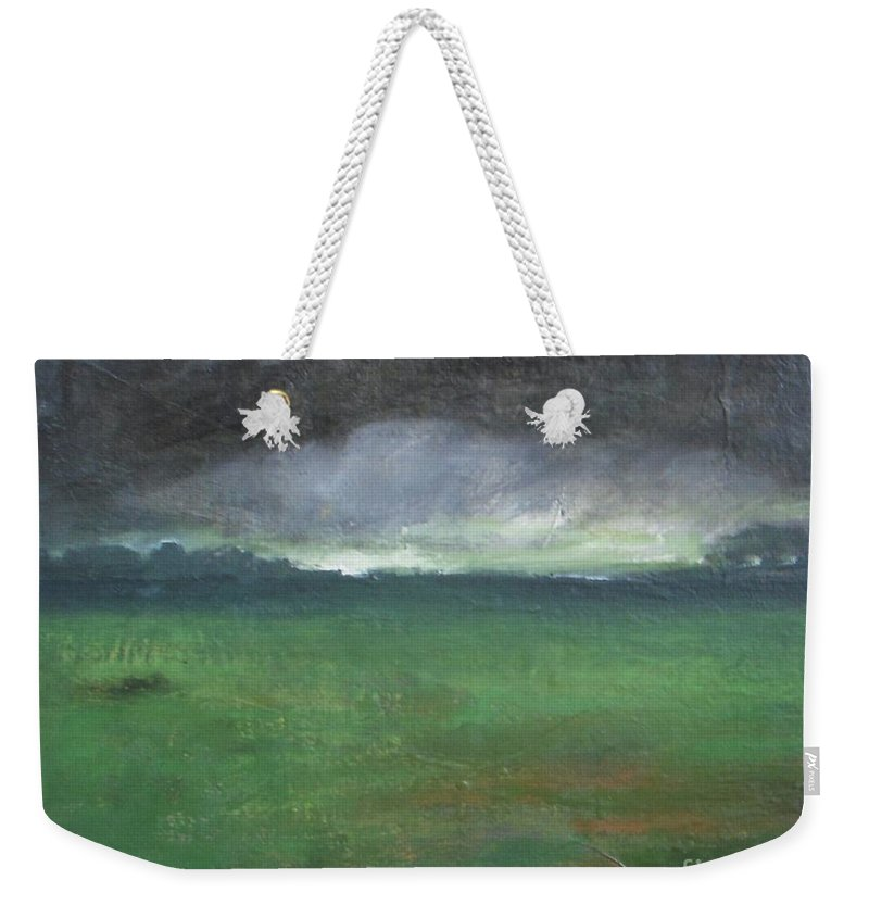 Landscape Weekender Tote Bag featuring the painting Owllight by Vesna Antic