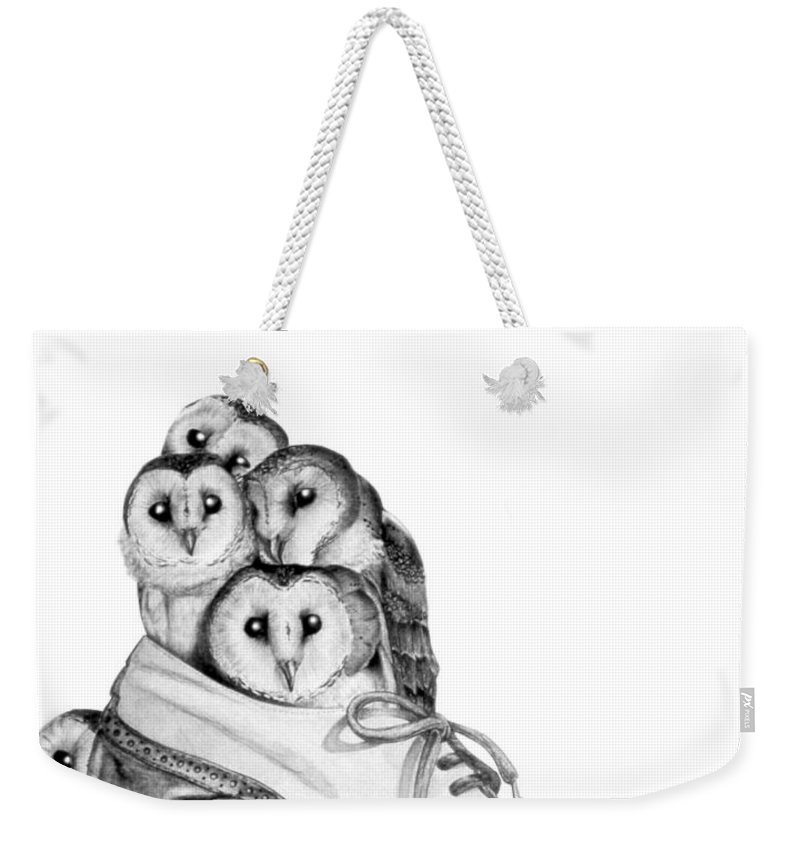 Owl Weekender Tote Bag featuring the painting Owls In A Shoe by Melissa A Benson
