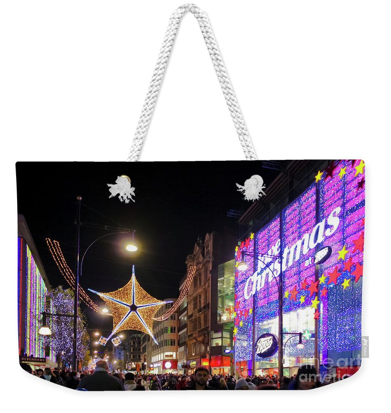 Oxford Street Weekender Tote Bag featuring the photograph Oxford Street London At Christmas by Terri Waters