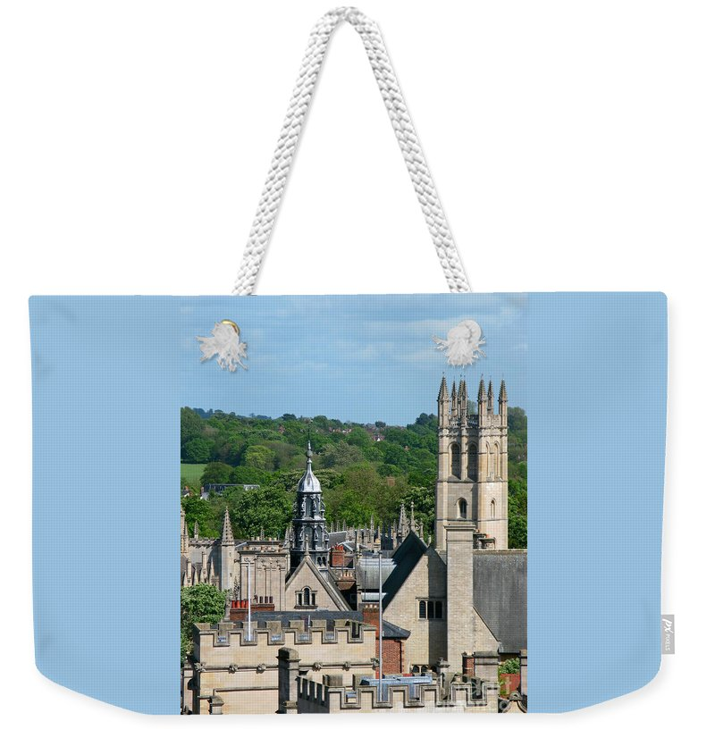 Oxford Weekender Tote Bag featuring the photograph Oxford Tower View by Ann Horn