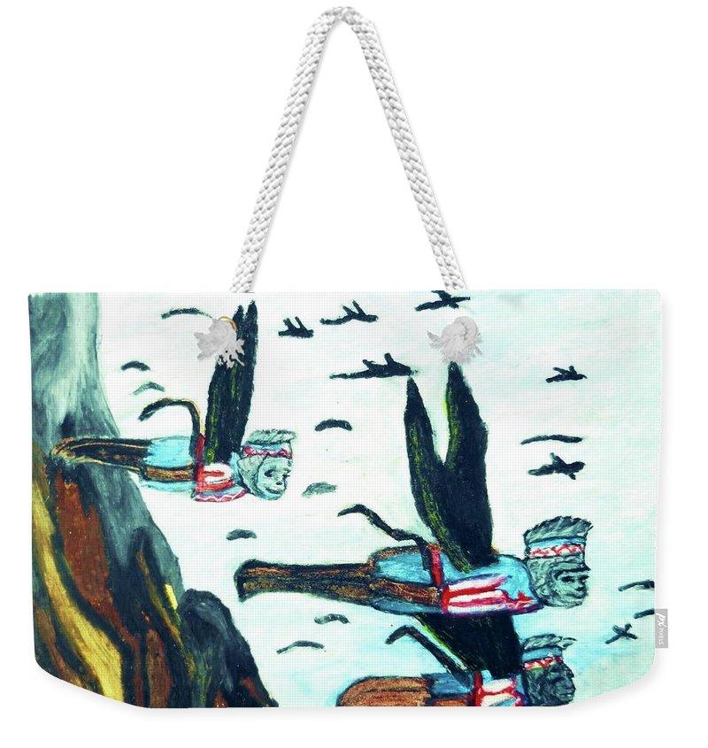 Wizard Of Oz Weekender Tote Bag featuring the pastel Oz Flying Monkeys by Jo-Ann Hayden