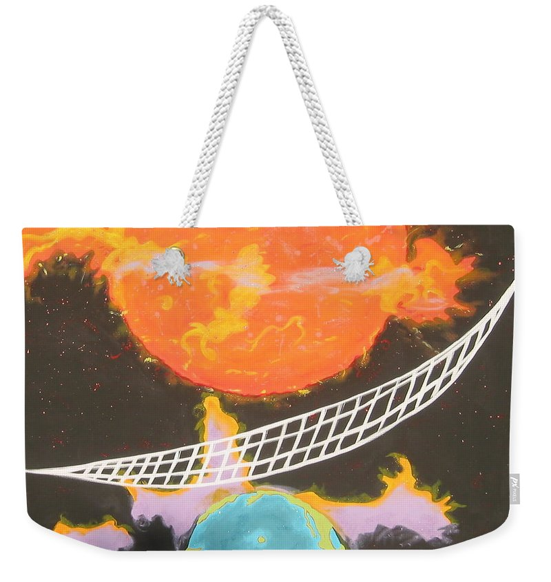 Environment Weekender Tote Bag featuring the painting Ozone Net by V Boge