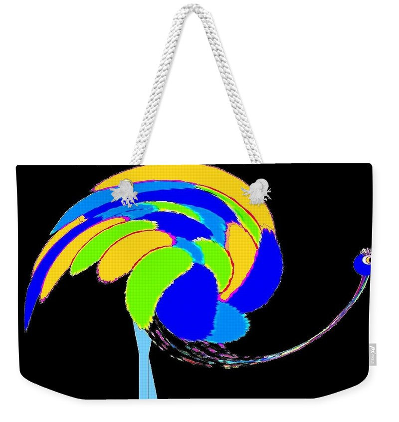 Abstract Weekender Tote Bag featuring the digital art Ozzie The Ostrich by Will Borden