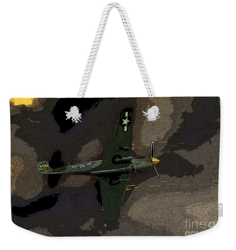 Artwork Weekender Tote Bag featuring the painting P 40 Warhawk In Action by David Lee Thompson