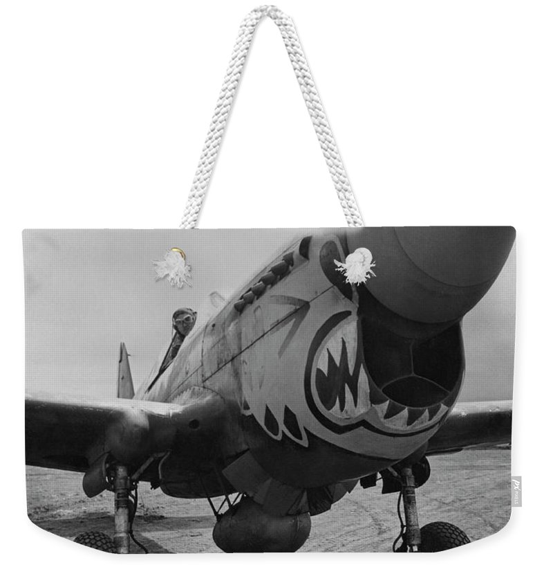 Ww2 Weekender Tote Bag featuring the photograph P-40 Warhawk - Flying Tiger by War Is Hell Store