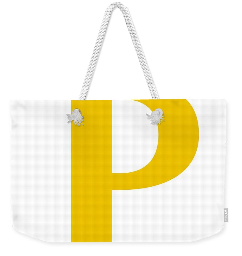 P Weekender Tote Bag featuring the digital art P In Mustard Typewriter Style by Custom Home Fashions