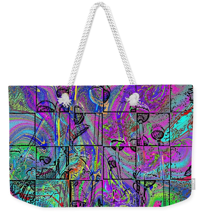 Poppies Weekender Tote Bag featuring the digital art P Patch Poppies 2 by Tim Allen