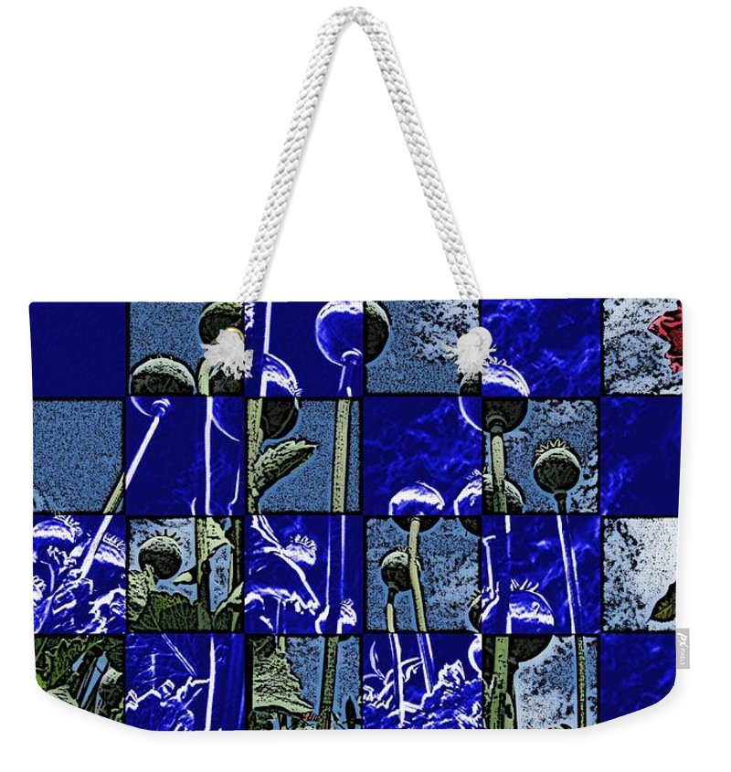 Poppies Weekender Tote Bag featuring the digital art P Patch Poppies by Tim Allen