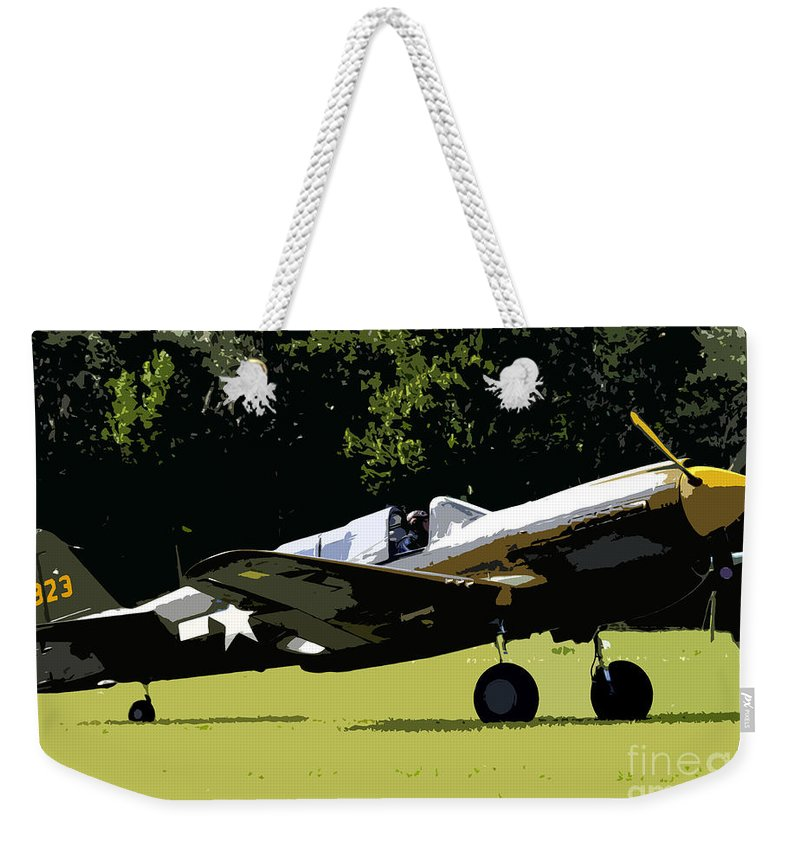 P 40 Weekender Tote Bag featuring the painting P40 Take Off by David Lee Thompson
