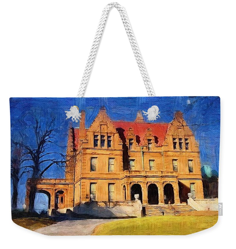 Architecture Weekender Tote Bag featuring the digital art Pabst Mansion by Anita Burgermeister