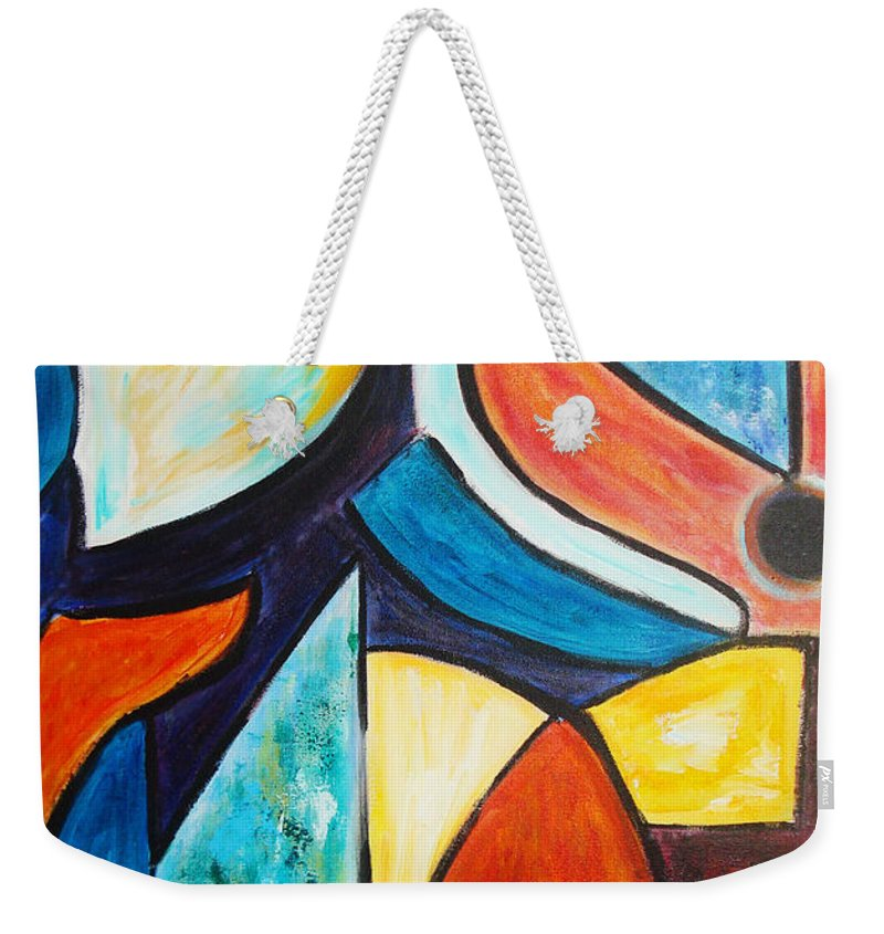 Acrylic Abstract Weekender Tote Bag featuring the painting Pace And Place by Yael VanGruber