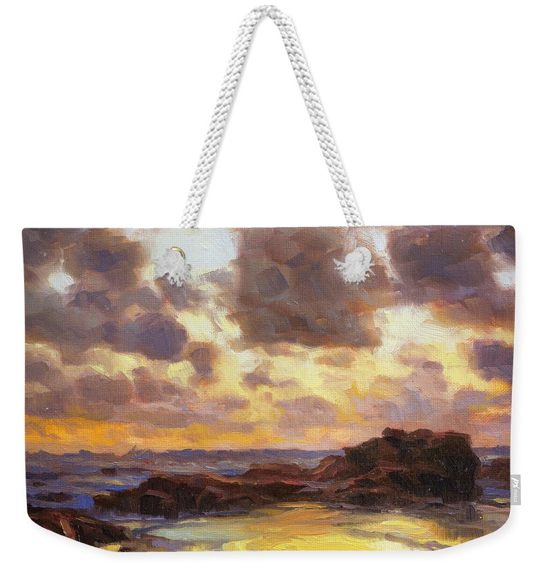 Coast Weekender Tote Bag featuring the painting Pacific Clouds by Steve Henderson