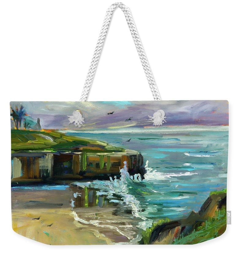 West Cliff Weekender Tote Bag featuring the painting Pacific Dawning by Marie Massey