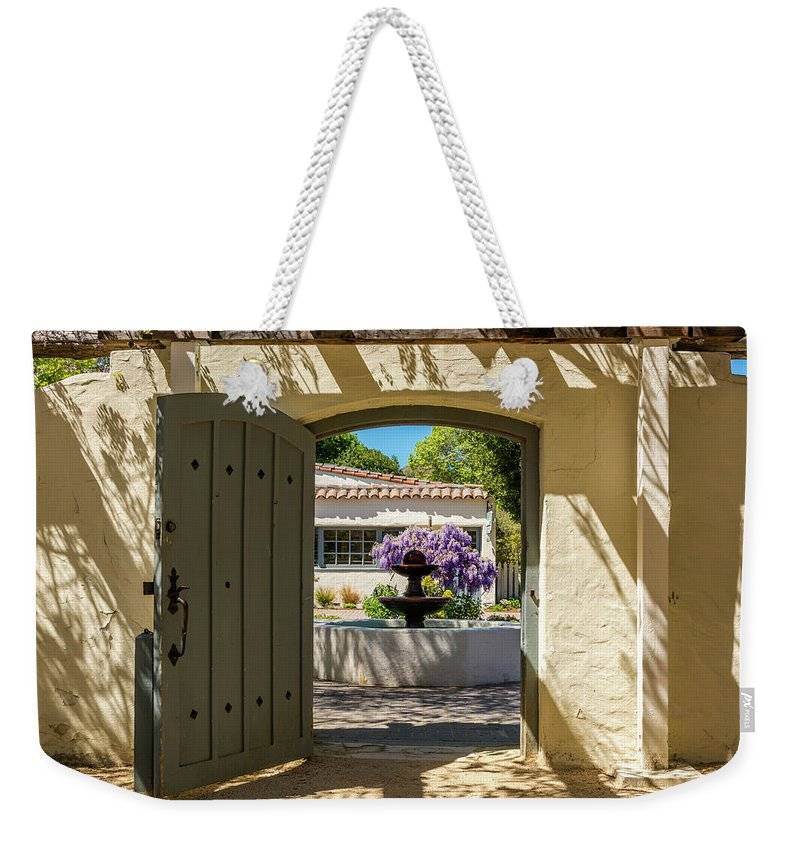 Landscape Weekender Tote Bag featuring the pyrography Pacific House Garden by Javier Flores