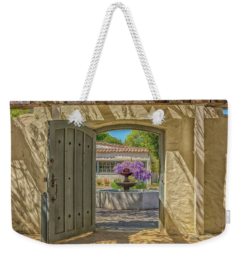 Landscape Weekender Tote Bag featuring the pyrography Pacific House Garden Watercolors by Javier Flores