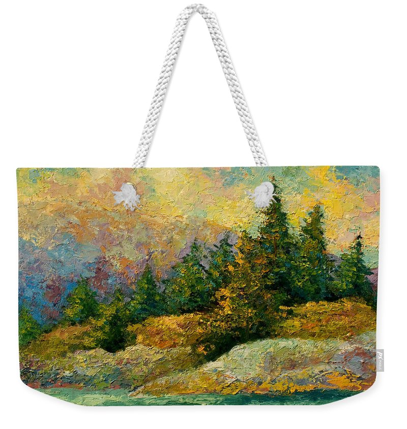 Alaska Weekender Tote Bag featuring the painting Pacific Island by Marion Rose