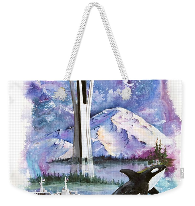 Mount Rainier Weekender Tote Bag featuring the painting Pacific Northwest Montage by Sherry Shipley